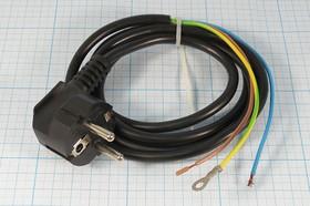 Шнур сетевой с круглой вилкой стандарта CEE7/7, ПВС, чёрный, длина 1.4м, сечение 0.75мм2,№ 3120 F шнур пит шт CEE7/7 угл-каб 3L\1,4м/3x0,75