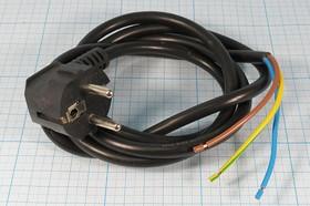 Шнур сетевой с круглой вилкой стандарта CEE7/7, ПВС, чёрный, длина 1.5м, сечение 1.5мм2,№ 3120 G шнур пит шт CEE7/7 угл-каб 3L\1,5м/3x1,5\1