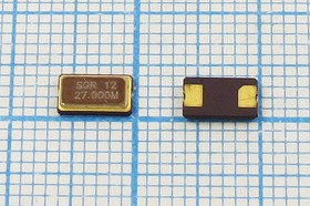 кварцевый резонатор 27МГц в корпусе SMD 6x3.5мм с двумя контактами, нагрузка 15пФ, 27000 \SMD06035C2\15\ 30\\GSX631S\1Г (27.000M)