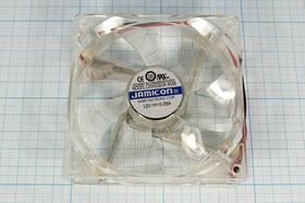 Фото 1/4 Вентилятор 12В прозрачный со светодиодами, 92x92x25мм,шариковый подшипник,2500об/ мин,ВН144B вент 92x92x25\ 12В\0,28А\2L\ШП\ LF0925B1M-40AR