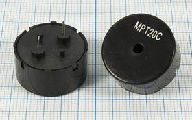 Излучатель звука пьезокерамический без генератора (1~30)В, Резонансная 2кГц зп 22x11\1~30\\ 2,0\2P10\MPT20C\MEC