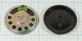 Динамик, диаметр 45мм, толщина 5мм, 4 Ом, 0.25 Вт; № 6630 A дин 45x 5\ 4\0,25\мет/пл\2C\ WEC45-11\CHINA