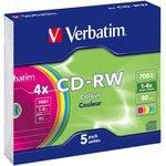 Оптический диск CD-RW VERBATIM 700Мб 4x, 5шт., 43133, slim case