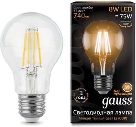 Фото 1/2 Лампа светодиодная Filament A60 E27 8Вт 2700К GAUSS 102802108