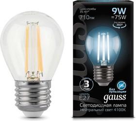 Лампа светодиодная LED 9Вт E27 Filament шар, белый Gauss