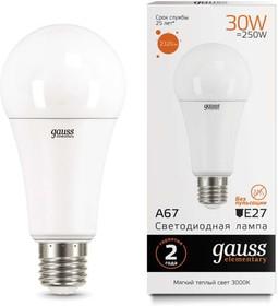 Фото 1/2 Лампа светодиодная Elementary A67 30Вт E27 3000К Gauss 73219