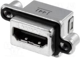 Фото 1/3 MHDR-A111-30, Разъем: HDMI; гнездо; PIN: 19; позолота; угловой 90°; THT; IP67