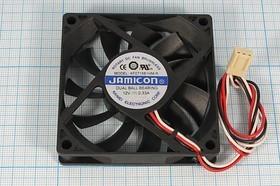 Фото 1/4 Вентилятор 12В с контролем скорости, 70x70x15мм, шариковый подшипник, 4200об/мин, ВН226 вент 70x70x15\ 12В\0,33А\3L+HU3\ ШП\KF0715B1HM-R