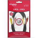 BL1015, Шнур 3RCA - 3RCA, видео-стерео-аудио, 1.8м
