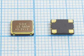 Кварцевый генератор 13.560МГц 3.3В, HCMOS/TTL в корпусе SMD 7x5мм, гк 13560 \\SMD07050C4\T/ CM\3,3В\SOC7\SDE