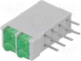 DBI02322, LED; в корпусе; зеленый; 1,8мм; Кол-во диод:4; 10мА; 38°; 2,1В
