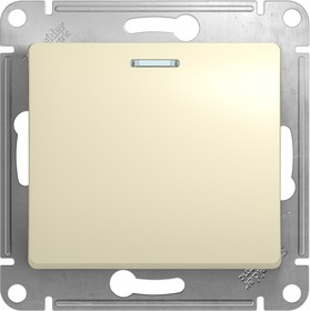 GLOSSA Переключатель одноклавишный с подсветкой в рамку бежевый схема 6а