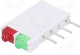 DBI01302, LED; в корпусе; красный/зеленый; 1,8мм; Кол-во диод:2; 10мА; 38°