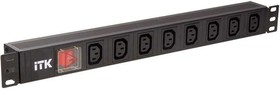 Блок розеток 8 мест PDU 19дюймов IEC320 C13 PH12-8C133 с LED выкл. алюм. профиль1U вход C14 без шнура ITK PH12-8C133