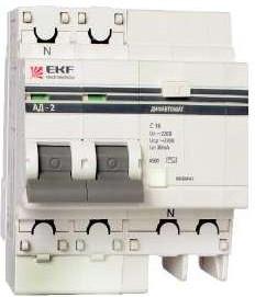Выключатель авт. диф. тока 2п 4мод. C 10А 30мА тип AC 4.5кА АД-2 PROxima EKF DA2-10-30-pro