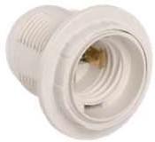 Патрон люстровый Е27 пластик с кольцом белый индивидуальный пакет