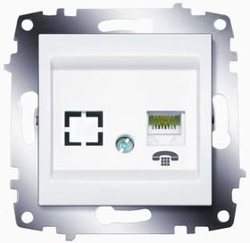 Механизм розетки телеф. 1-м Cosmo (RJ11 + гнездо) бел. ABB 619-010200-221