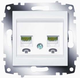Механизм розетки телеф. 2-м Cosmo RJ11 + RJ11 бел. ABB 619-010200-222
