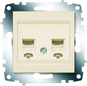 Механизм розетки телеф. 2-м Cosmo RJ11 + RJ11 крем. ABB 619-010300-222