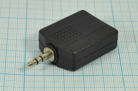 Фото 1/2 Переходник штекер Audio Jack стерео 3.5мм на два гнезда 6.3мм, № 9830 шт 3,5стерео-2гн 6,3стерео\3C[Ni]\ \пласт\\[переход