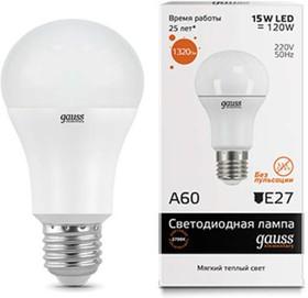 Фото 1/5 Лампа светодиодная Elementary A60 15Вт грушевидная 3000К тепл. бел. E27 1320лм 180-240В Gauss 23215