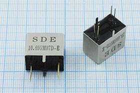 Фильтр кварцевый полосовой 10.695МГц 8-го порядка, полоса 7.5кГц/3дБ, ф 10695 \пол\ 7,5/3\L-2\4P\ 10,695M07D-E\8пор\SDE