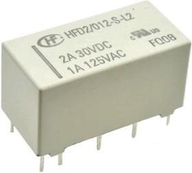 HFD2/012-S-L2, Реле 2пер. 12VDC/3A, 250VAC бистабильное 2 катушки