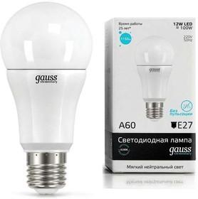 Лампа светодиодная Elementary A60 12Вт E27 4100К 1/10/40 Gauss 23222