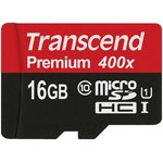 TS16GUSDU1, Карта памяти Transcend 16GB microSDHC Class10 ...