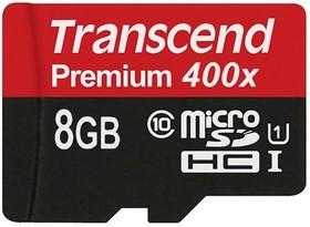 Карта памяти microSDHC UHS-I U1 TRANSCEND Premium 8 ГБ, 90 МБ/с, Class 10, TS8GUSDCU1, 1 шт.