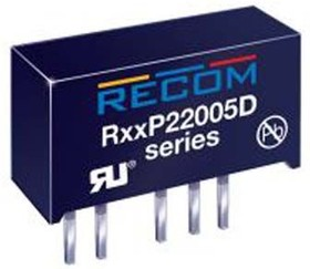 R15P22005D, DC/DC CONVERTER ISOLATED 20/-5V 1W
