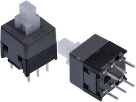 PB22E09-071 (аналог MPS-850-G), Push switch with Lock, size of 8.5x8.5mm, transparent stem, grey