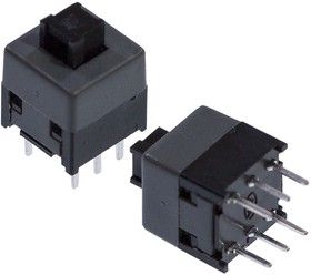 PB21E09-071, Push switch with nonlock, size of 8.5x8.5mm, Transparent stem, grey cover, black c