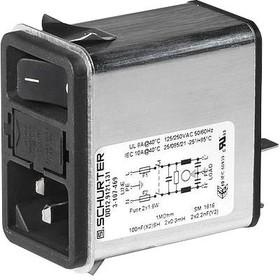 3-107-467, IEC фильтр, IP40, C14, 0.1 мкФ, 250 В AC, Стандартный, 4 А, Быстрое Соединение, 1.5 мГн