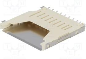 GSD090012SEU, Гнездо памяти, SD, Push-Push, 9 контакт(-ов), Фосфористая Бронза, Контакты с Покрытием из Золота