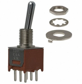 T203SHCQE, Switch Toggle ON OFF ON DPDT Round Lever PC Pins 2A 120VAC 28VDC PC Mount with Threads Medical Bulk