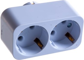 Фото 1/2 Разветвитель электрический двойник АМ 16-2Е, 16А, с заземлением 12322