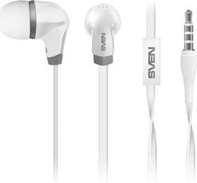 Наушники вкладыши с микрофоном SVEN SEB-260M, белый, для моб. устройств (4pin jack), микрофон на кабеле, Наушники вкладыши с микрофоном SVEN