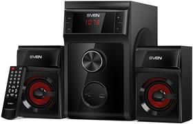 Фото 1/5 SVEN MS-302, черный, акустическая система 2.1, мощность (RMS): 20 Вт + 2x10 Вт, FM-тюнер, USB/SD, дисплей, ПДУ, SVEN MS-302, черный, акустич