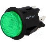 R13541BL01BGN2, Выключатель DPST OFF-ON round pushbutton green illuminated