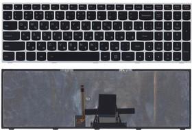Клавиатура для ноутбука Lenovo IdeaPad G50-30, G50-45, G50-70, B50-30 черная с серебряной рамкой и подсветкой