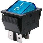 IRS-201-1A3 (синий), Переключатель с подсветкой ON-OFF (15A 250VAC) DPST 4P