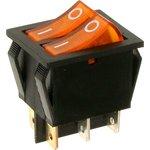 IRS-2101-1C3, Переключатель желтый с подсветкой ON-OFF (15A 250VAC) DPST 6P