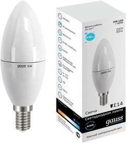 Фото 1/2 Лампа светодиодная Elementary 6Вт свеча 4100К белый E14 450лм 180-240В GAUSS 33126