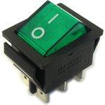 IRS-202-1A3 зеленый, Переключатель с подсветкой ON-ON (15A ...
