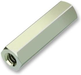 R25-1000402, Стойка, никелированная, Латунь, M2.5, Шестигранная Гнездовая, 4 мм, 4 мм