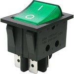 IRS-201-3C3 (зеленый), Переключатель с подсветкой ON-OFF (15A 250VAC) DPST 4P