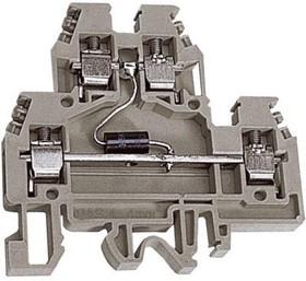 Зажим проходной DAS.4/D12GR. 2-х уровн. 4кв.мм с диодом 12В сер. DKC ZDSD012GR