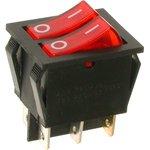 A12K, Переключатель красный с подсветкой ON-OFF (16A/250VAC) 4P