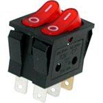 IRS-2101-3C3, Переключатель красный с подсветкой ON-OFF (15A 250VAC) DPST 6P